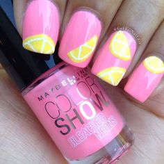 lemon nail art for summer 2016 ornament for females, which is typically made of linen, lemon, becomes a popular idea of nail designs. nails are exquisite and elegant application to finish women's fashion. 3d Nail Art, Cute Nail Art, Nail Arts, Gorgeous Nails, Pretty Nails, Lemon Nails, Girls Nails, Cute Nail Designs, Diy Nails