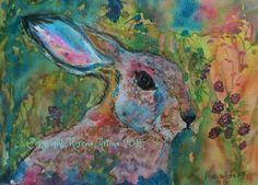 MORENA ARTINA Original contemporary PAINTING Hare 8 x 11 inches Sunset Hare