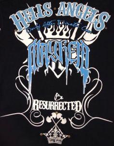 Blac Label T Shirt Large Mens V Neck Hell Angels Mayhem Resurrection Black