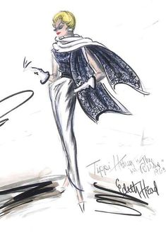 Edith Head costume sketch for Tippi Hedren in The Birds (1963)