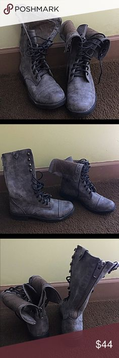 DOLLHOUSE LACE-UP BOOTS WOMENS DOLLHOUSE LACE-UP BOOTS, W ZIPPER IN BACK SO U CAN WEAR EM UP OR FOLDED DOWN! SIZE 9 GRAY BOUGHT BUT NEVER WORE EM Dollhouse Shoes Combat & Moto Boots