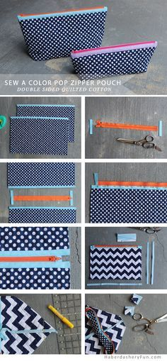 DIY.. Quilted Color Pop Zipper Pouch