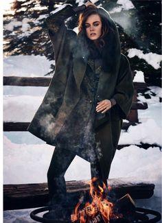 Posing fireside, Jac wears a Max Mara coat, blazer, top and pants for Harper's Bazaar Australia Magazine June 2016 issue