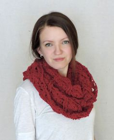 Chunky Hooded Crochet Red Infinity Scarf by RagdollChic on Etsy