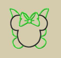 DESIGN - INSTANT DOWNLOAD - Miss Mouse Head Tink Fairy Applique Design - 3 Sizes 4x4 5x7 6x10 Beginner Friendly. $3.75, via Etsy.