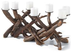 Wooden Candelabra - eclectic - candles and candle holders - Chasing Fireflies