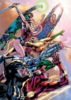 This is the promotional art for the post-New 52 Justice League of America, drawn by Bryan Hich.