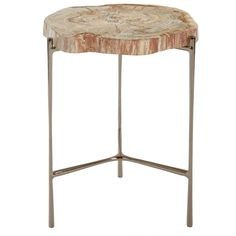 accent table by Safavieh -SFV6014A - Petrified wood and black nickel base
