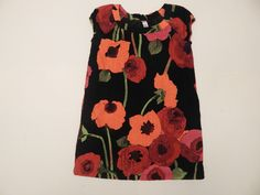 Girls Gap Kids Corduroy Red Orange Black Floral Cap Sleeve Dress Size Medium #GapKids #DressyEverydayHolidayWedding