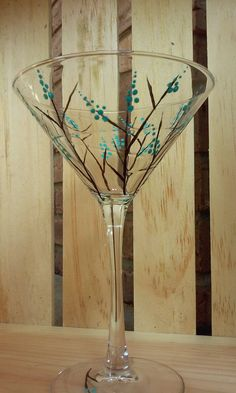 Hand Painted Martini Glass Set by TheZenSpirit on Etsy