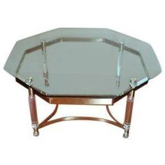 Lucite and brass octagonal coffee table by cestlavintage18 on Etsy
