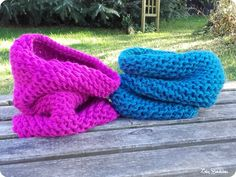 Snood(s) fastoche au tricotin géant Lily Bouticlou