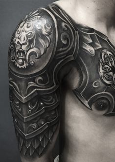 Ra-zone TattooYou can find Armor tattoo and more on our website. Armor Sleeve Tattoo, Armour Tattoo, Shoulder Armor Tattoo, Body Armor Tattoo, Best Sleeve Tattoos, Body Art Tattoos, Buddha Tattoos, Warrior Tattoos, Badass Tattoos