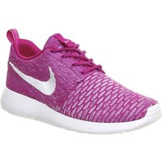 NIKE Roshe Run flyknit trainers ($145) ❤ liked on Polyvore featuring shoes, sneakers, activewear, flats, fushcia flash white, flat pumps, white sneakers, white shoes, white flats and nike flats