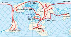 The rate of mutation and the pattern of mutation in the mt DNA can not only help us date mt Eve, but can help track the migration of humans out of Africa and around the world. The numbers with a k =thousands of years ago.