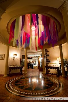 Awesome hanging fabric installation!