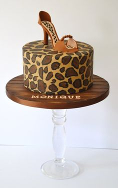 Hand Painted Leopard Print Cake Sugarpaste Shoe Topper And Wood Grain Board