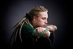 Darkside of Dreadlocks ~ Alternative Dread Fashion  he's beautiful *~*  I think this is actually a somewhat almost famous skater or biker guy bit I can't remember xD c: