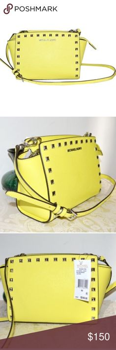 """⭐️ canary yellow Michael Kors Selma stud messenger NO TRADES ❌ignoring comments asking for one ~ Canary Yellow STYLE # 30T3SSMM2L Auth MICHAEL KORS. Great small crossbody purse, great bold color, so perfect for summer or year-round! Silvertone hardware.   Removable, adjustable crossbody strap Silver Stud detail on front and back panels Interior: MULTI FUNCTION POCKETS; KEY KEEPER HOOK WITH LEATHER LEASH; MK LOGO LINING Measurements: 9""""(L) X 6 5/8""""(H) X 4 1/2""""(D) WITH DUST BAG & CARD 100%…"""