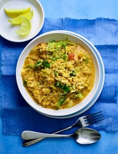 Dive into our delicious golden coconut and cauliflower dhal recipe. This low calorie dinner is our go-to recipe for cutting back after Christmas - we've sneaked in some Brussels sprouts to maximize those leftovers