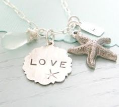 charm bracelets, the ocean, bridesmaid gifts, necklac, beach weddings, beach jewelry, jewelri, sea glass, beach themes