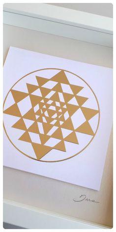 Art print on foil, Sry Yantra Sacred Geometry art design, paper wall art, silver print paper collage, hotel decor, house gift, yoga print, yoga studio decor, indian symbol