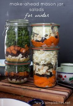 Mason Jar Winter Salads // fresh, colorful and perfect for lunch, dinner or a late night snack attack via Simple Bites #clean #prepday #healthy