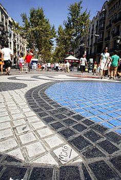 Joan Miro tilework, La Rambla, Barcelona, Catalonia.