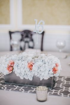 Hydrangeas and peach roses: http://www.stylemepretty.com/illinois-weddings/2014/09/29/elegant-country-club-wedding-2/ | Photography: M. Lindsay - http://mlindsayphotography.com/