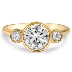 Three Stone Bezel Diamond Ring, top view