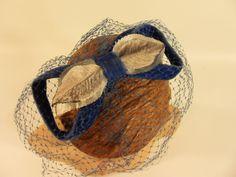 Vintage 50s 60s Veil Cocktail Hat in Blue Velvet Something Blue by Better Dresses Vintage