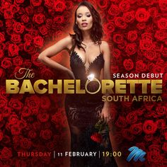 """It's almost time to ask the question """"Will you accept this rose?"""" Dont miss out on @Qiniso's journey to find love on #TheBacheloretteSA on the 11th of February! February, Journey, Celebs, Seasons, This Or That Questions, Rose, Movie Posters, How To Wear, Celebrities"""
