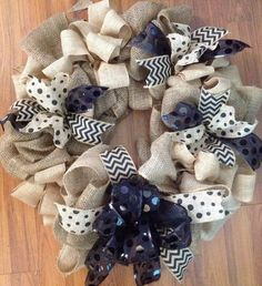 Chevron, Polka Dot Burlap Wreath Hunt Hunt Finn and Mester Mester Lowery - you could use any other color fabric with the burlap. Burlap Projects, Burlap Crafts, Wreath Crafts, Diy Wreath, Craft Projects, Wreath Ideas, Craft Ideas, Holiday Wreaths, Mesh Wreaths