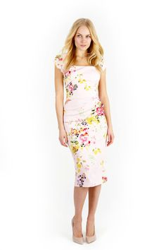 Seville Rose Cara Pencil Dress | The Pretty Dress Company