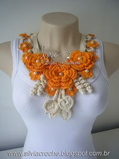 croche, colar de croche, flores em croche, maxi colar, moda feminina, acessorios feminino, laranja, colar laranja