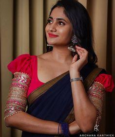 Staid Puff-sleeved blouse design makes everyone Irresistible – Fascinate Blouses Saree Blouse Neck Designs, Fancy Blouse Designs, Blouse Patterns, Saree Poses, Wedding Saree Collection, Saree Photoshoot, Stylish Sarees, Indian Blouse, Indian Beauty Saree