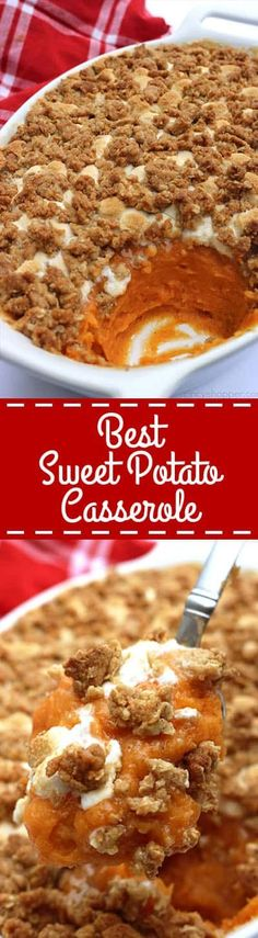 This is absolutely the BEST Sweet Potato Casserole ever. Since this casserole includes a delicious streusel type topping, it makes it like no other. Perfect for Thanksgiving and Christmas dinners. Best Sweet Potato Casserole I Thanksgiving Recipes, Fall Recipes, Holiday Recipes, Happy Thanksgiving, Holiday Meals, Holiday Dinner, Pumpkin Recipes, Christmas Recipes, Yummy Recipes