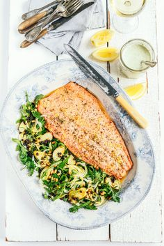From the Kitchen I Roast Salmon with Fennel Rocket and New Potato Salad