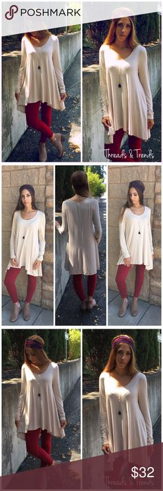 "Cassandra Tunic Back to basic wardrobe staple, cream long sleeve high low tunic. Made of rayon and spandex. Size S, M,                                                                         Small  Bust 40 Length 35  Medium Bust 44 Length 35"".                                                                   Large  Bust 44 Length 35 shift Threads & Trends Tops Tunics"
