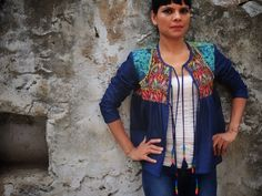 Vintage Kantha Fabric and Denim Eclectic Jacket by kinche.com
