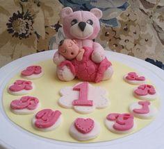 Handmade Edible Large Teddy Bear with Baby Birthday Christening Cake Topper