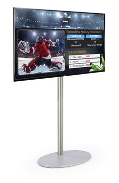"""This TV digital signage set and all in one media player comes complete with a 49"""" LG® SuperSign television and a 73"""" silver stand with tilting bracket. Each LG monitor features integrated content delivery software that allows commercial users to deliver media such as videos, images, live cable and more to customers or guests! The LAN connectivity featured on the wireless digital signage allows for remote control and operation of up to 50 monitors. Attach a wireless device to the included… Digital Signage System, Monitor, Remote, All In One, Software, Cable, Commercial, Delivery, Indoor"""