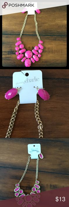 Nwt Charming Charlie necklace & earrings Nwt hot pink necklace and earrings by charming Charlie. Clasp looks a little bent, but works fine. Charming Charlie Jewelry Necklaces
