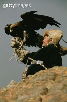 A Kazakh man supports his trained golden eagle