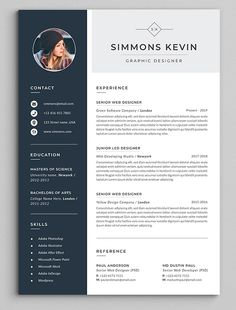 Clean & Modern Resume/cv template to help you land that great job. The flexible … Clean & Modern Resume/cv template to help you land that great job. The flexible page designs are easy to use and…More Best Resume Format, Resume Layout, Resume Cv, Resume Photo, Good Resume, Visual Resume, Resume Tips, Cv Simple, Simple Resume