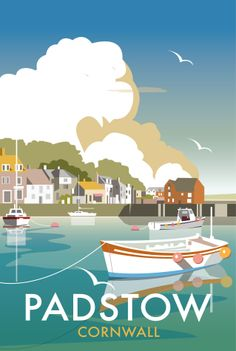 Vintage Travel Poster - Padstow Harbour - Cornwall - by Dave Thompson, Poster Retro, Posters Uk, Vintage Films, Railway Posters, Gig Poster, Vintage Travel Posters, Beach Posters, British Seaside, Tourism Poster