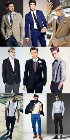 Men's Collar Pins/Tabs, Tie Bar, Lapel Flowers and Braces Outfit Inspiration Lookbook