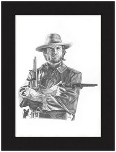 Artist Jon Brown's pencil drawn image of the iconic cinema character, The Outlaw Josey Wales, played in the movie by Clint Eastwood. Open Edition Matted Print -- signed by the Artist, black mat Pencil Art, Pencil Drawings, Art Drawings, Clint Eastwood, Drawing People, Portrait Art, Unique Art, Art Reference, Amazing Art