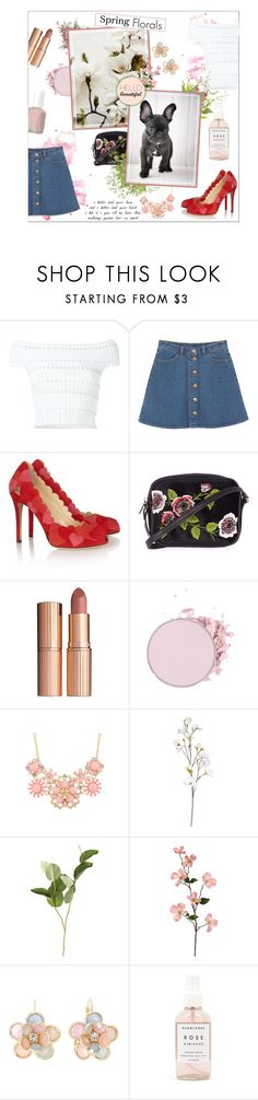"""Spring florals"" by honey-beans-xo ❤ liked on Polyvore featuring Alexander McQueen, Monki, Charlotte Olympia, Topshop, Charlotte Tilbury, OKA, Mixit, Herbivore and Essie"