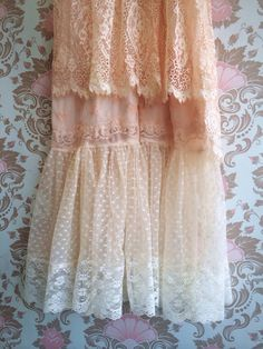 pale peach & cream embroidered chiffon and by mermaidmisskristin